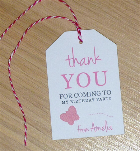 Girls party Thank you gift tags Set 12