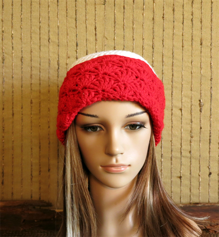 Crochet Hat, Womens Beanie, Red White Blue Beanies Winter