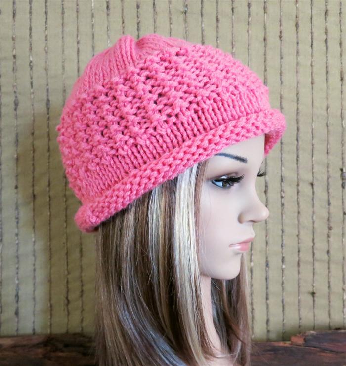 Crochet Hat Pattern With Cuff : Crochet Hat, Womens Hat, Chunky Pattern Beanie Cuff, Melon ...