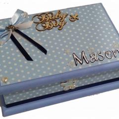 Baby Boy Personalised Keepsake Trinket Treasure Memory Wooden Box - Blues