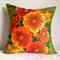 Daisy cushion cover Vintage linen tea towel sun flowers in oranges on green