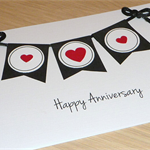 Happy Anniversary Card with bunting -  can be personalised!