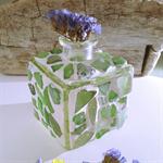 small sea glass green mosaic vase