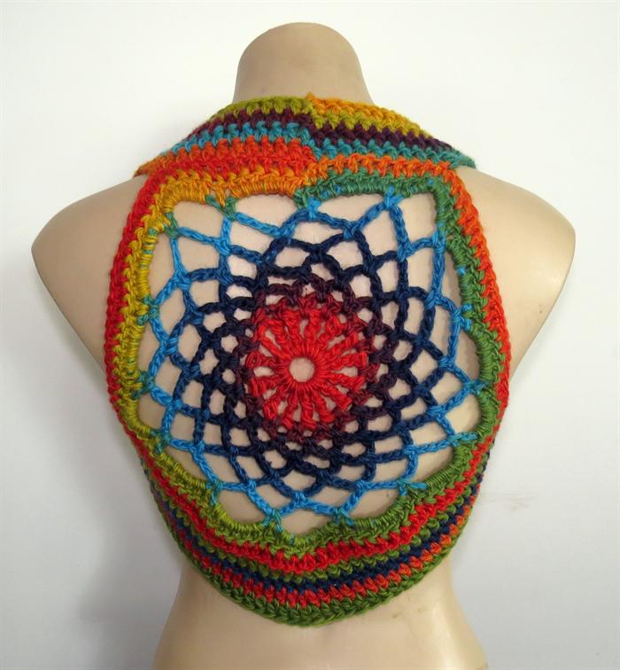 Mandala Pixie Vest Crochet Hippie Vest Burning Man Dream Catcher