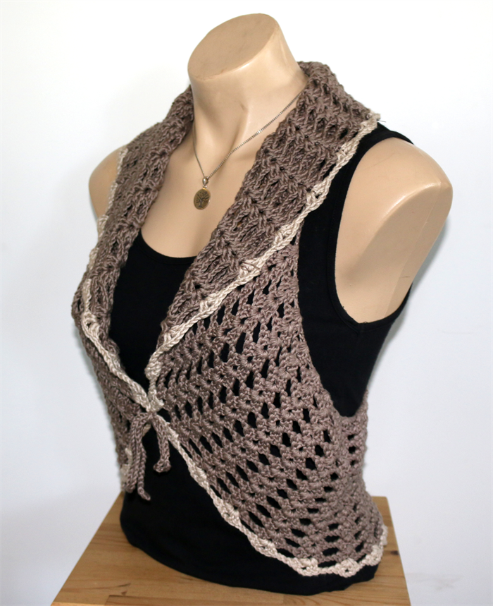 Ladies Vest Medium Crochet Knit Bamboo Viscose One Only Unique