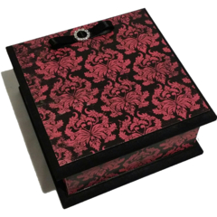 Classy Goth Red Damask Keepsake Memory Trinket Treasure Jewellery  Wooden Box