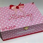 Pink Polka Dot Time Capsule Keepsake Trinket Treasure Memory Wooden Baby Box