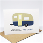 Birthday Male Card - Happy Birthday - Blue Caravan Camper - HBM064