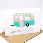 Birthday Card Female - Caravan Vintage Caravan with Bunting - HBF153