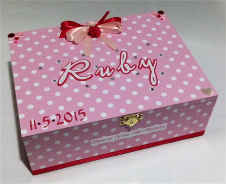 Pink Polka Dot Time Capsule Keepsake Trinket Treasure Memory Wooden Baby Box