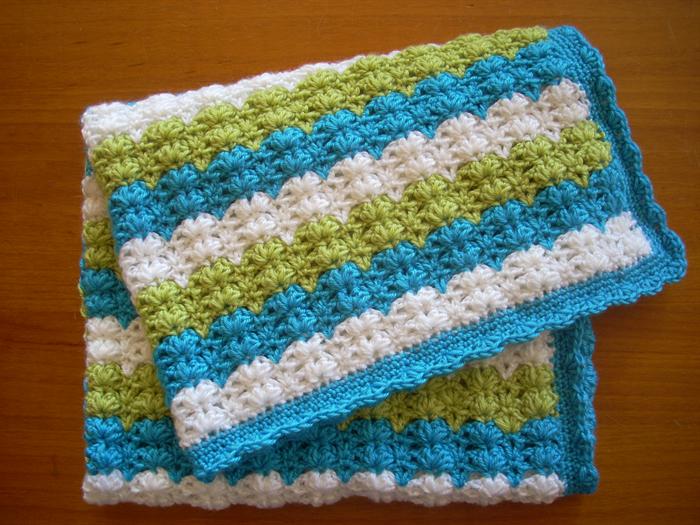Baby Blanket Pram Cover Crochet Blue Green White