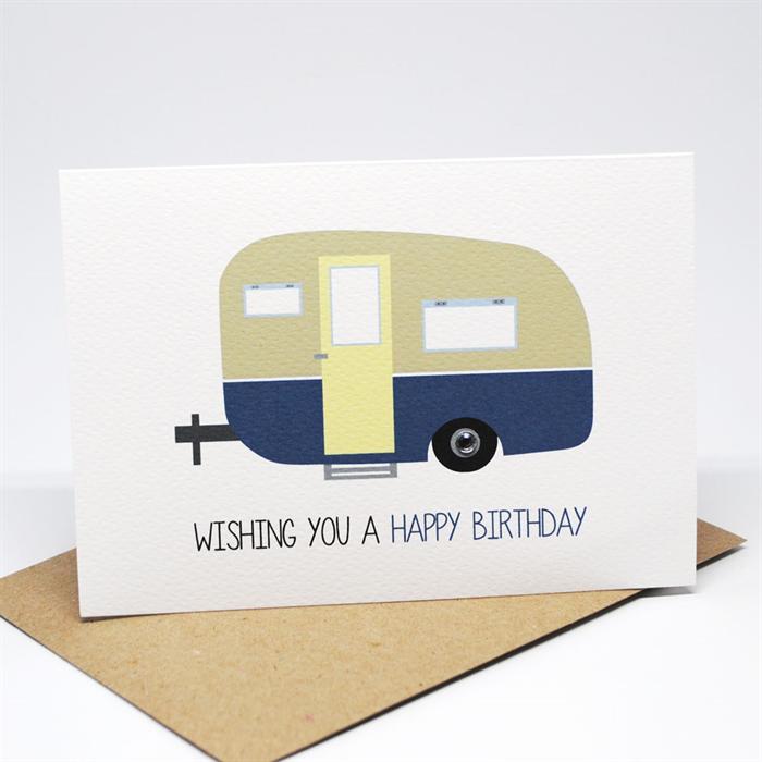 Birthday Male Card Happy Birthday Blue Caravan Camper HBM064 – Birthday Card Delivery Australia