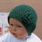 Crochet Baby Hat, Dark Green Beanie With Crochet Wool Flower, Winter Toddler
