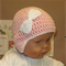 Crochet Baby Hat, Pale Pink Beanie With Crochet White Bow, Winter Toddler Beanie