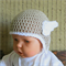 Crochet Baby Hat, Pale Brown Beanie With Crochet White Wings, Photo Prop Hat