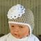 Crochet Baby Hat, Pale Brown Beanie With Crochet Flower, Photo Prop Hat, Winter