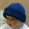 Knitted Baby Hat, Blue Chunky Wool Beanie, Photo Prop, Skull Caps