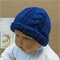 Knitted Baby Hat, Navy Baby Beanie, Chunky Cable Hat, Photo Prop