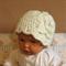 Crochet Baby Hat, Girls Beanie With Crochet Wool Flower, Baby Shower Gift, Cream