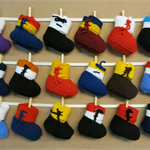 Knitted Baby Booties, Hi Top Wool Baby Shoes, AFL Football Teams, Baby Shower