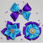 Satin bow & flower hair clip set (3) - Custom Made in your choice of colors