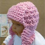 Knitted Baby Hat, Pink Chunky Baby Beanie With Ear Flaps, Photo Prop