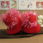 Knitted Booties, Red Baby Shoes, Newborn Girls Wool Hi Tops, Baby Shower Gift