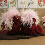 Knitted Booties, Brown Pink Baby Shoes, Newborn Girls Wool Hi Tops, Baby Shower