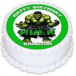 Incredible Hulk Personalised Round Edible Cake Topper - PRE-CUT