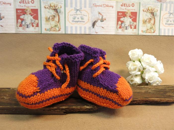 Knit Baby Booties Converse Hi Tops Purple And Fluro Orange ...