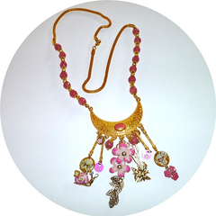 Morganite and enamel necklace