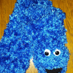 """Kids (or adult!) blue Monster scarf, inspired by """"Cookie"""""""