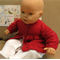Red Baby Knitted Newborn Matinee Jacket. Baby Gift Handmade Infant Clothes