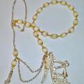 Cream enamel shoe necklace