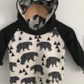 Toddler Hoodie // Baby Hoodie // Geo Bears // Monochrome Hoodie // Bears //