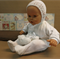 Knitted Baby Booties / Bonnet Newborn Baby Set, Baby Photo Props, White