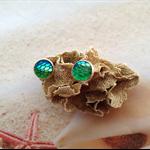 Nautical Mermaid Fish Scale Earring Studs Copper Setting Beach Jewellery