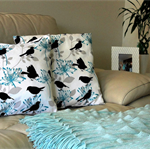 Teal Birds Cushion Cover