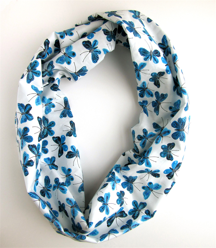 organic cotton infinity scarf butterfly scarf blue and