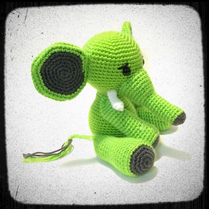Crochet Amigurumi Elephant Ears : Big Ears Elephant in Amigurumi Crochet style Bright Green ...
