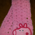 "Pink scarf with ""Peppa Pig"" inspired face"