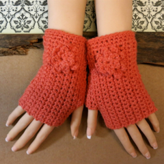 Crochet Fingerless Gloves, Wrist Warmers, Orange Arm Warmers, Crochet Flower