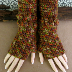 Fingerless Gloves Armwarmers, Chunky Brown Winter Crochet Warm Glove
