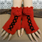 Crochet Fingerless Gloves, Red Corset Wool Gloves, Arm Warmers, Gothic Glove