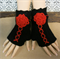 Crochet Fingerless Gloves, Black Corset Wool Gloves, Arm Warmers, Gothic Glove