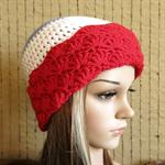 Crochet Hat, Womens Beanie, Red White Blue Beanies Winter Wool Hats AFL Football