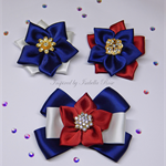 Formal school satin hair clip set (3) - Custom Made in your choice of colors