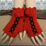 Crochet Fingerless Gloves, Red Corset Wool Gloves, Arm Warmers, Gothic Glove