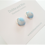 Pastel Blue polymer clay stud earring set in silver colour cabochon