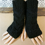 Fingerless Gloves, Black Wrist Warmers, Cabled Arm Warmer, Womens Chunky Knit
